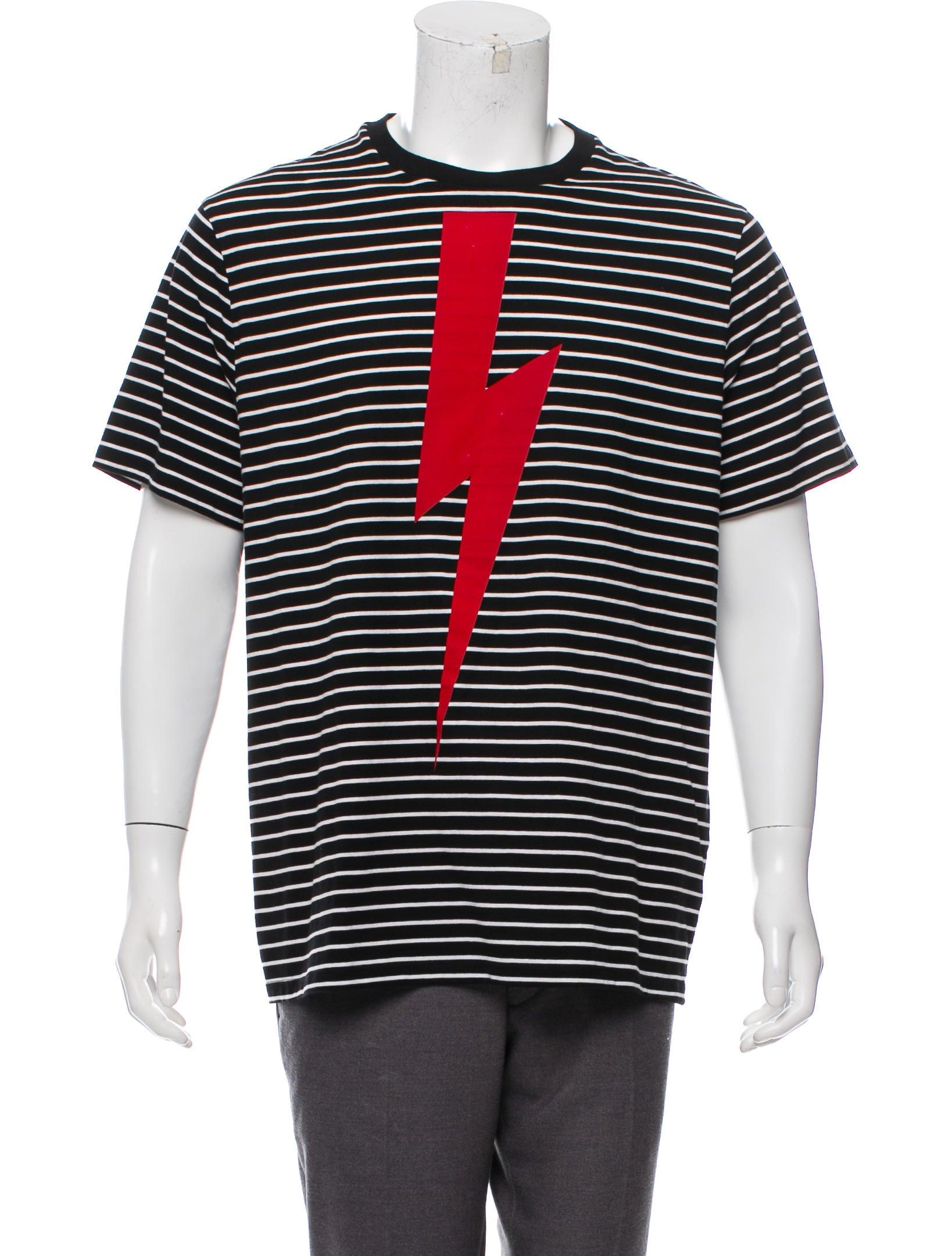 688e2147 Neil Barrett Striped Lightning Bolt T-Shirt - Clothing - NEB22539 ...