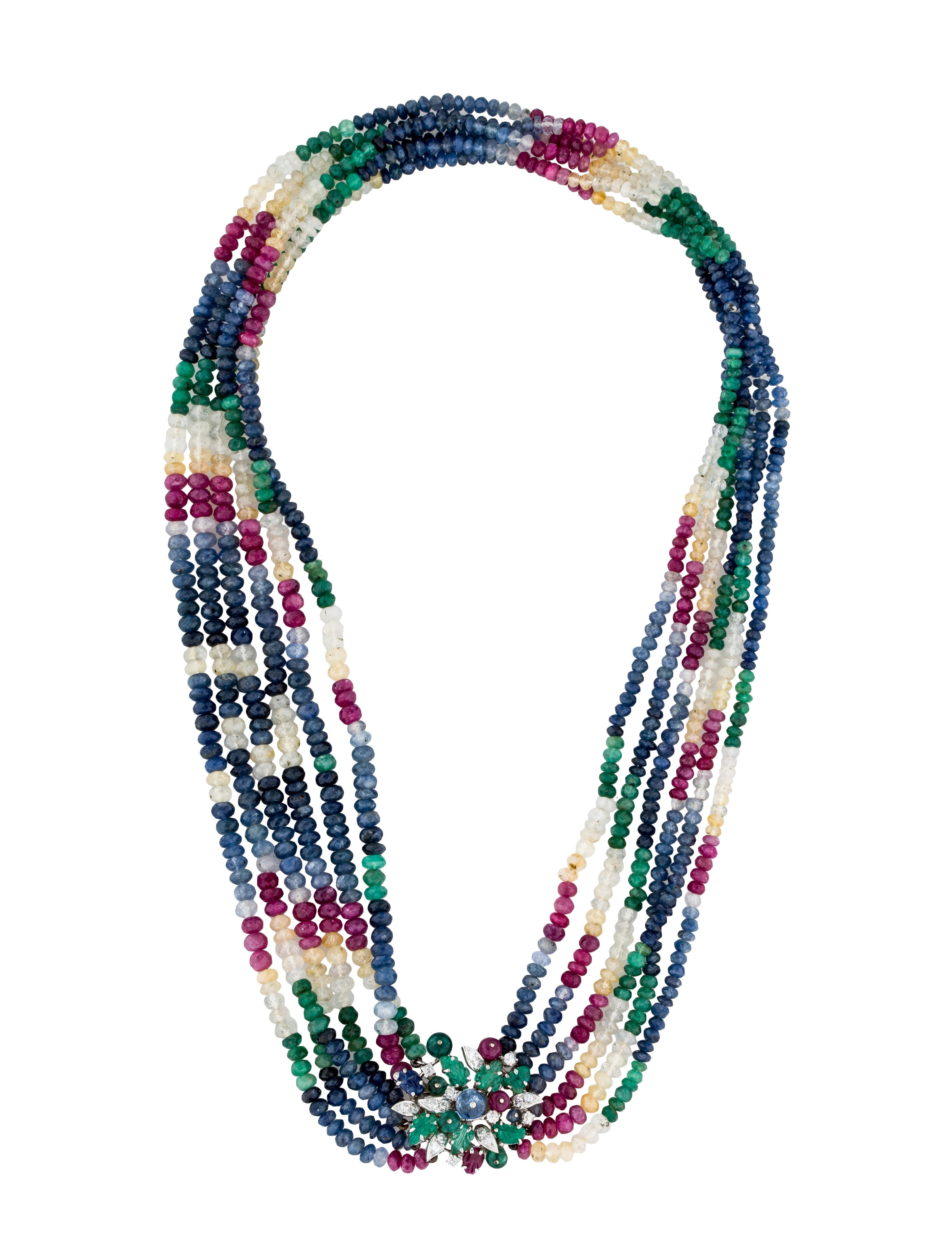 18k multistrand emerald sapphire ruby bead necklace