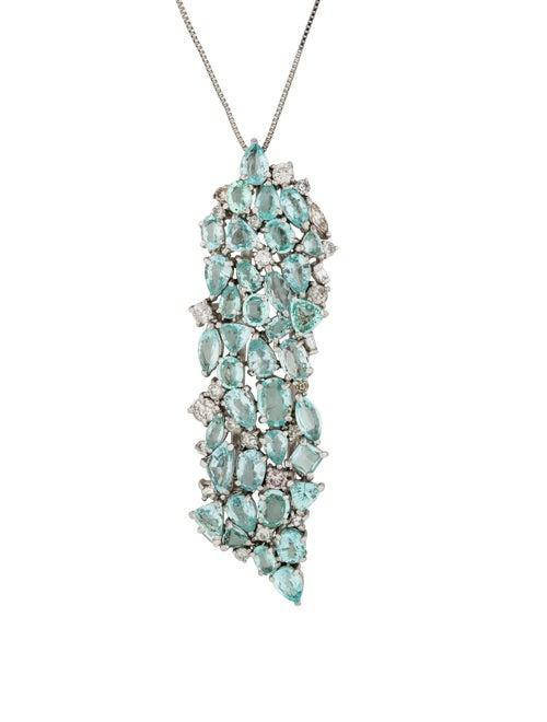 Aquamarine & Diamond Pendant Necklace