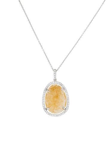 18K Rutilated Quartz & Diamond Pendant Necklace