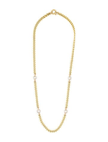 18K Diamond Circle Station Chain Necklace