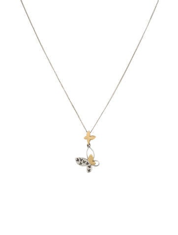 Two-Tone Butterfly Pendant Necklace None