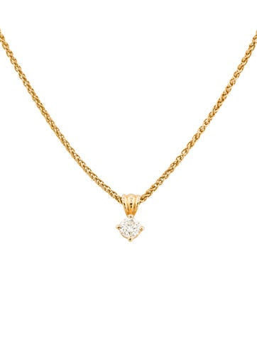 14K Diamond Solitaire Necklace