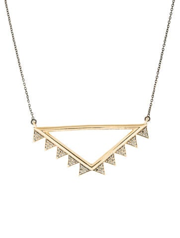 Two-Tone Diamond Triangle Pendant Necklace