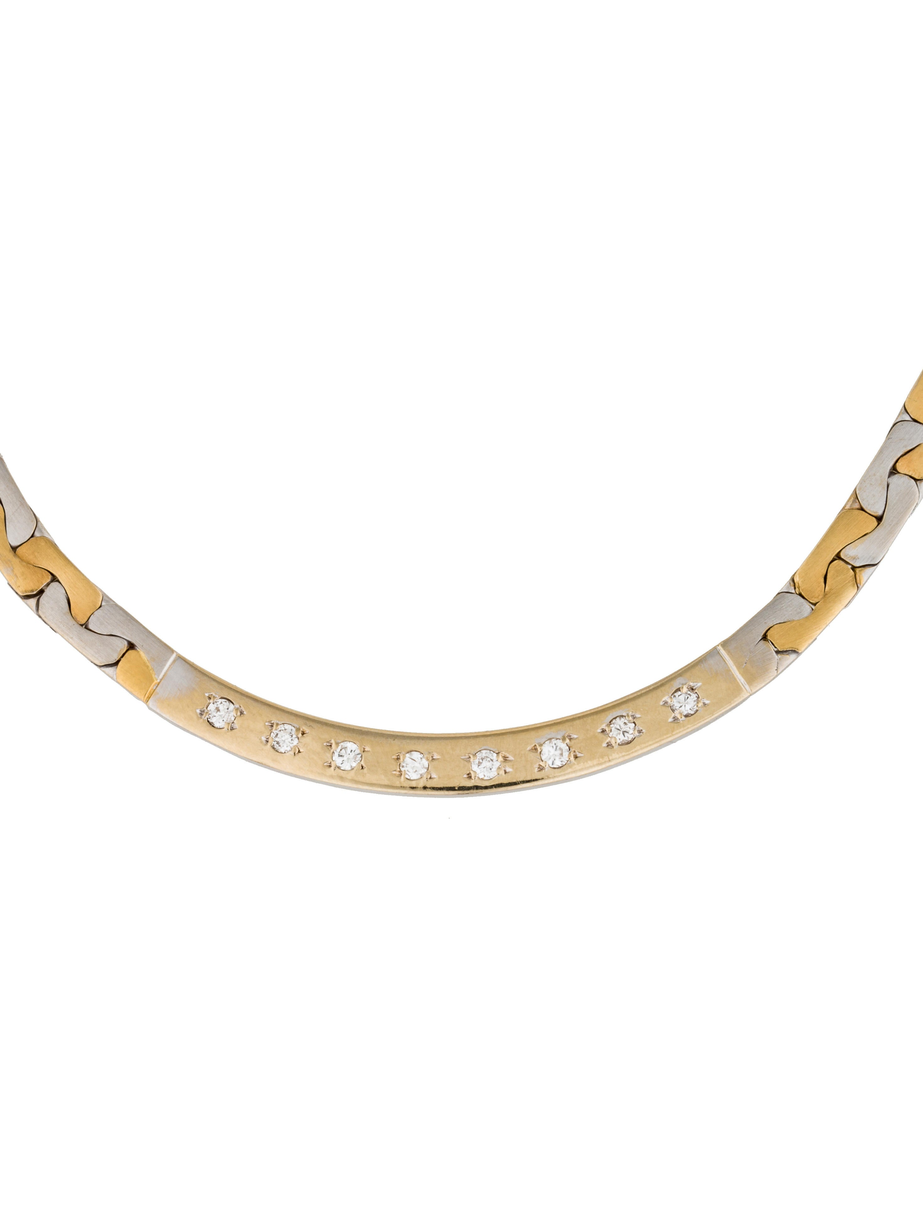 18K Two-Tone Diamond Flat Chain Necklace - Necklaces ...