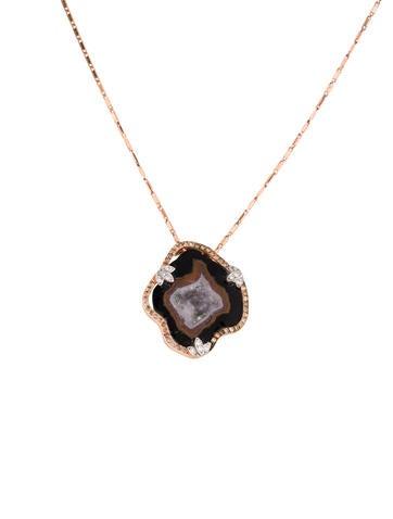 14K Druzy & Diamond Foliate Pendant Necklace