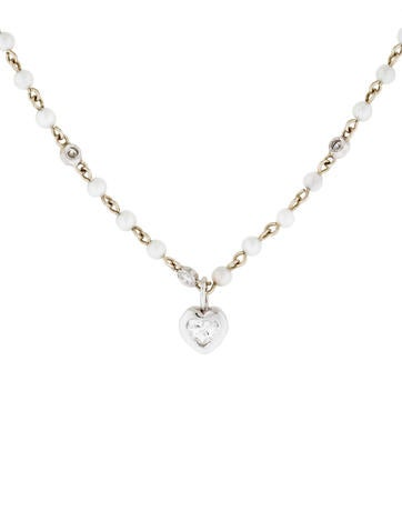 14K Diamond & Pearl Heart Necklace