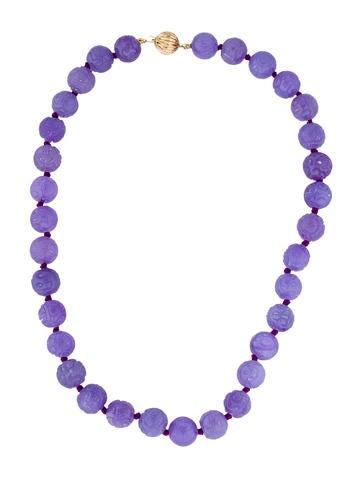 Necklace 14K Carved Lavender Jade Necklace