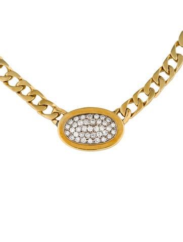 18K Pavé Diamond Oval Pendant Necklace
