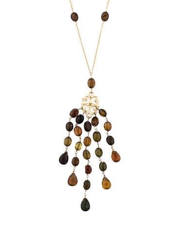 14K Garnet Lavalier Necklace