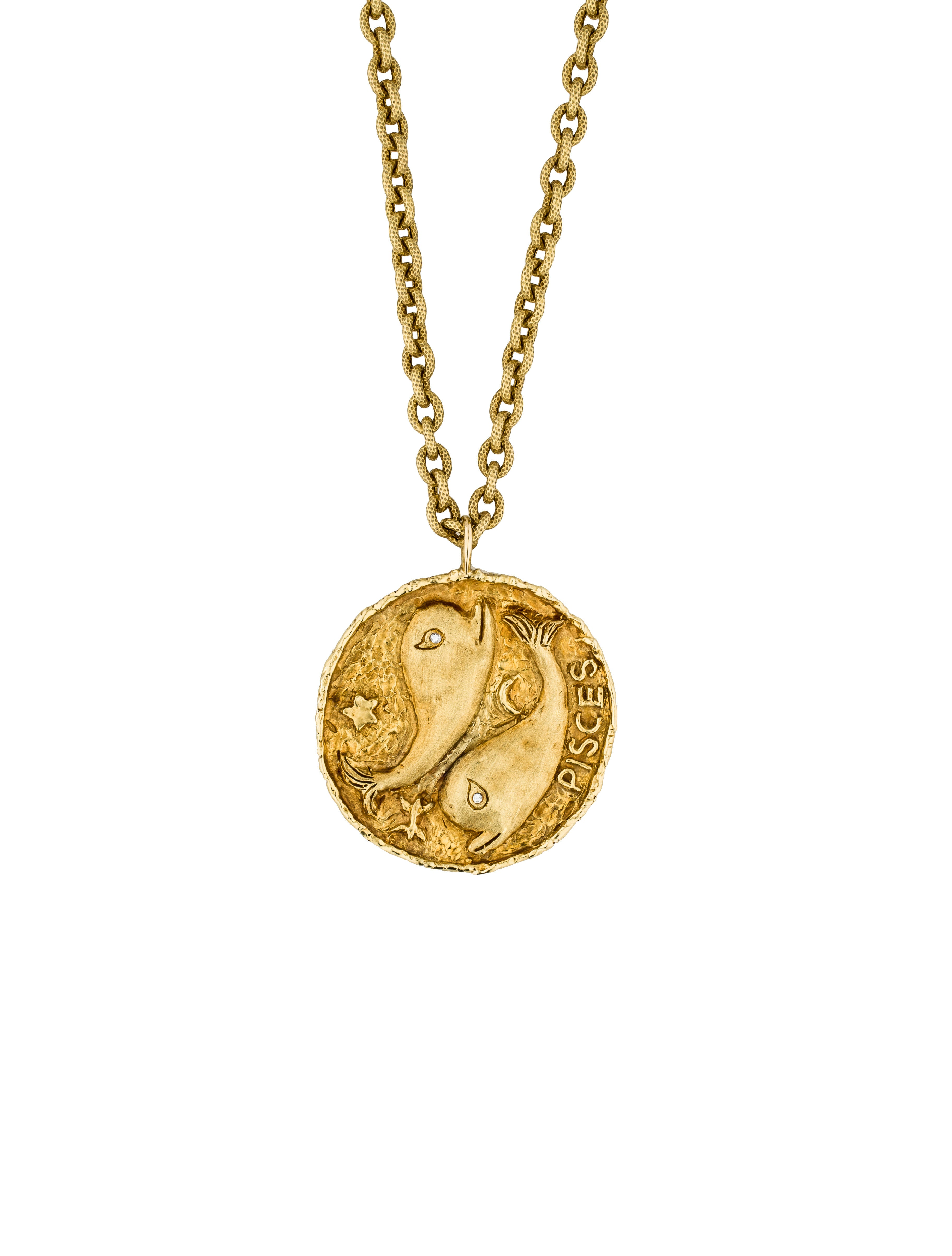 18k pisces medallion necklace necklaces