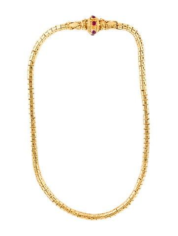 22K Ruby Cabochon Necklace