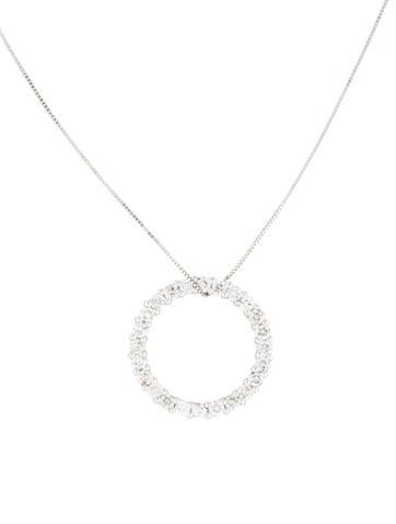 14K Diamond Circle Pendant Necklace