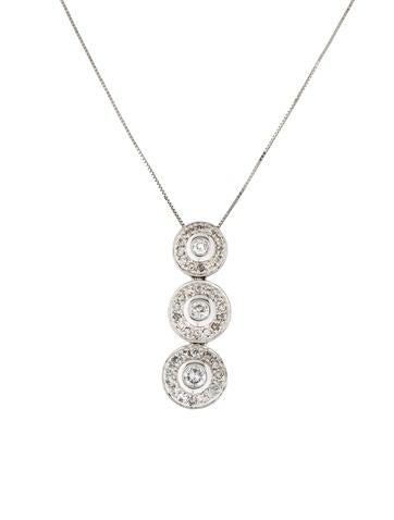 14K Diamond Triple Drop Pendant Necklace