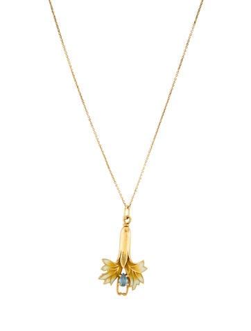 Aquamarine Flower Pendant Necklace