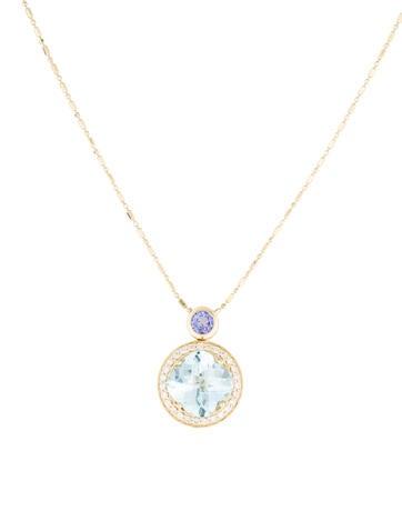14K Aquamarine, Tanzanite & Diamond Pendant Necklace