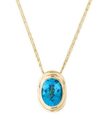 14K Topaz & Diamond Pendant Necklace