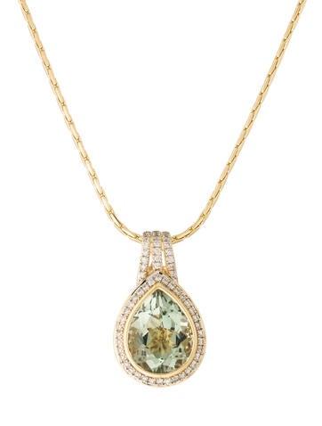 14K Prasiolite & Diamond Teardrop Pendant Necklace