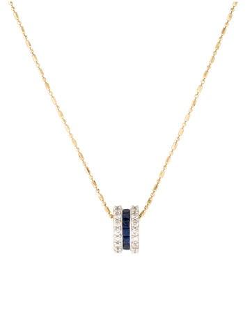 14K Diamond & Sapphire Sliding Pendant Necklace