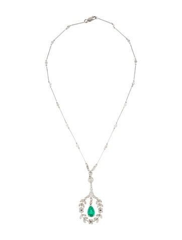 14K Diamond & Emerald Pendant Necklace