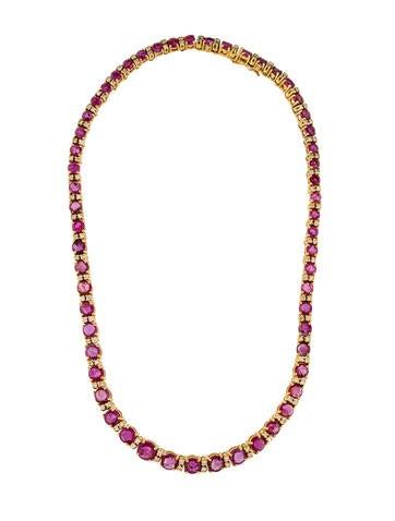 18K Pink Sapphire & Diamond Necklace