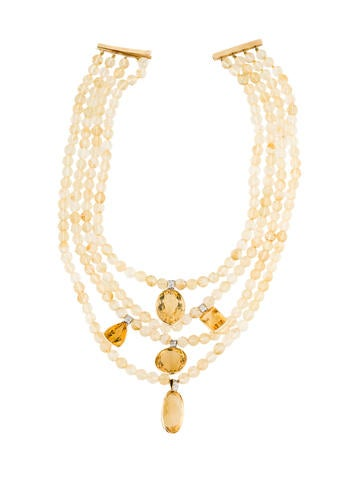 14K Citrine & Diamond Multistrand Necklace