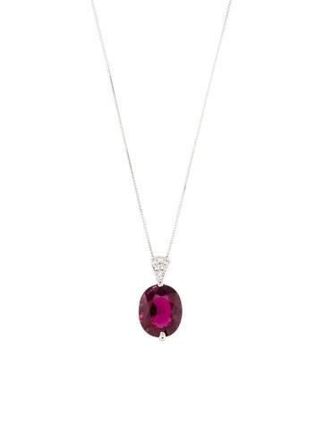 Platinum Tourmaline & Diamond Pendant Necklace