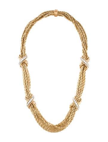14K Diamond 'X' Station Necklace