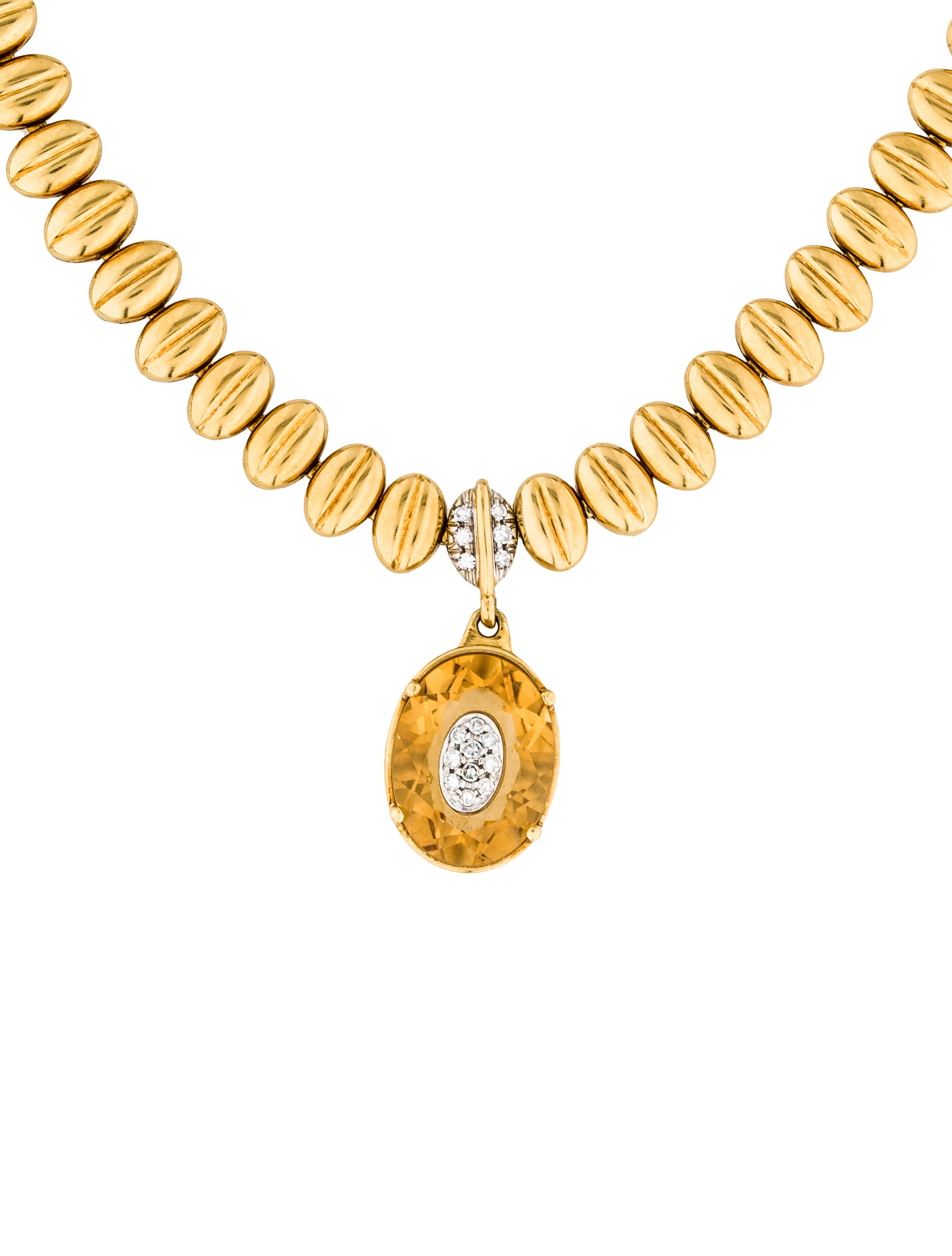 18k citrine amp diamond necklace necklaces neckl27244