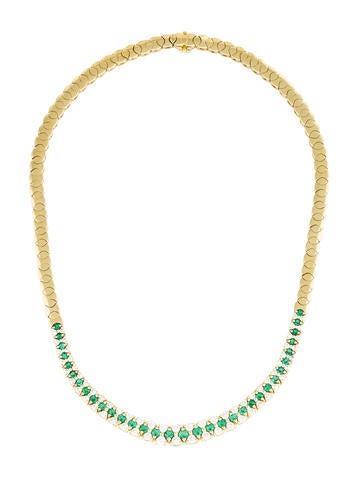 18K Emerald & Diamond Collar Necklace