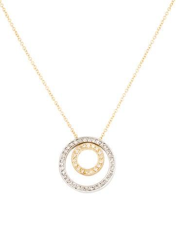 14K Diamond Circles Pendant Necklace