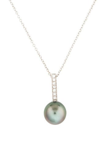 14K Pearl& Diamond Pendant Necklace