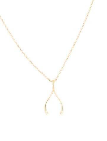 14K Wishbone Pendant Necklace