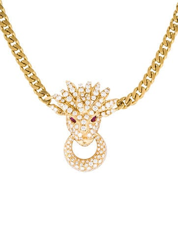 18K Diamond and Ruby Dragon Pendant Necklace