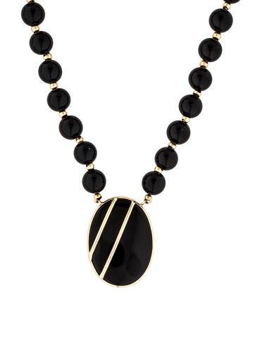 14K Onyx Bead Strand Necklace