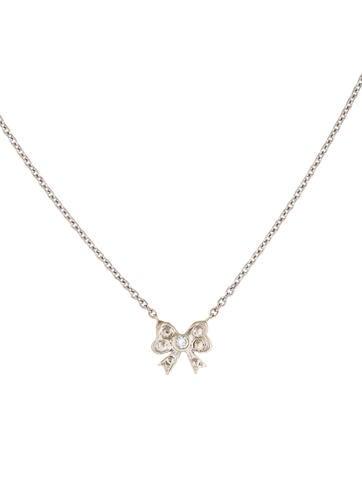 14K Diamond Mini Bow Pendant Necklace