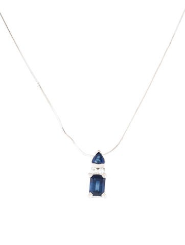 14K Sapphire & Diamond Pendant Necklace