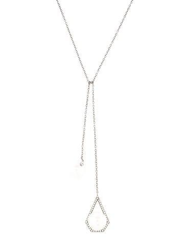 18K Pearl & Diamond Lariat Necklace