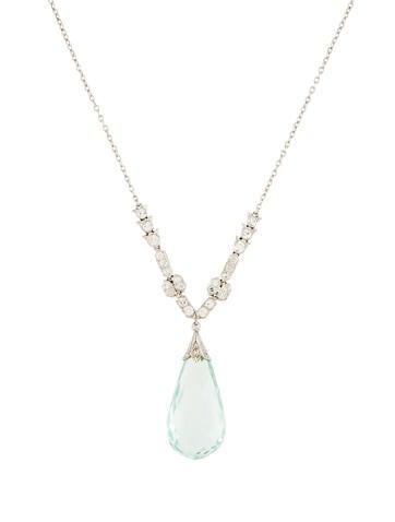 Aquamarine Briolette & Diamond Pendant Necklace