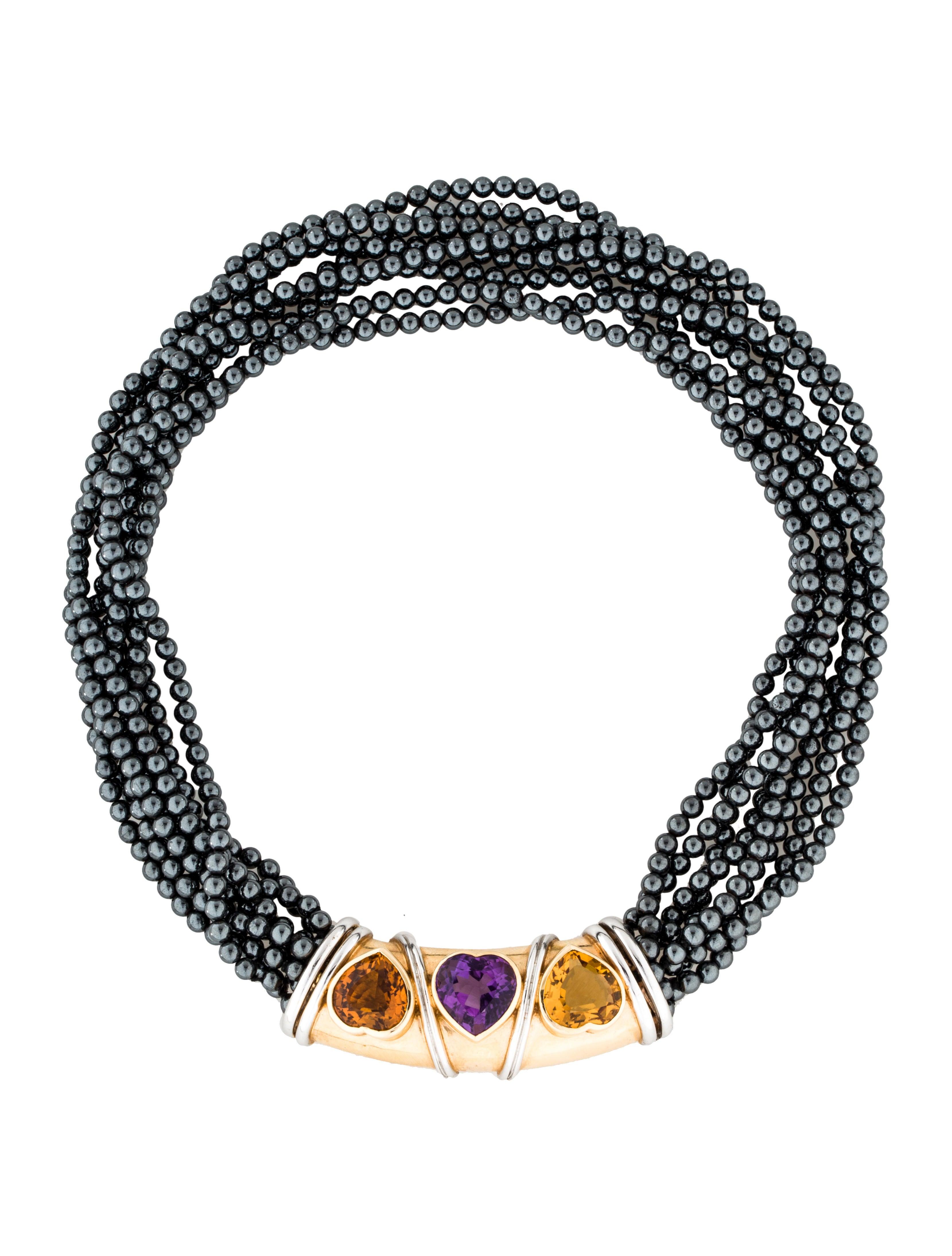 14k heart shaped citrine amp amethyst bead necklace
