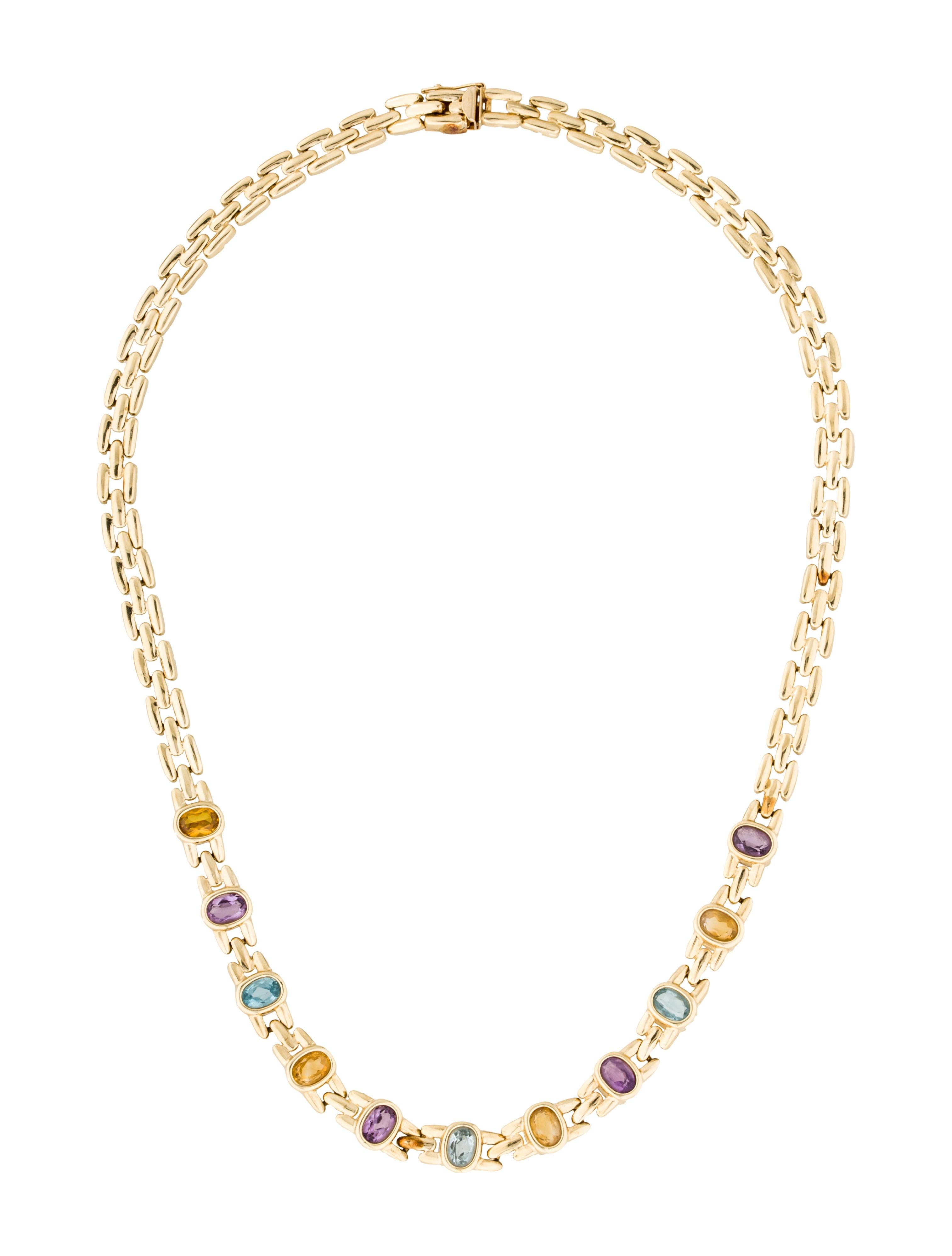 Necklace 14k Topaz Amethyst Amp Citrine Station Necklace