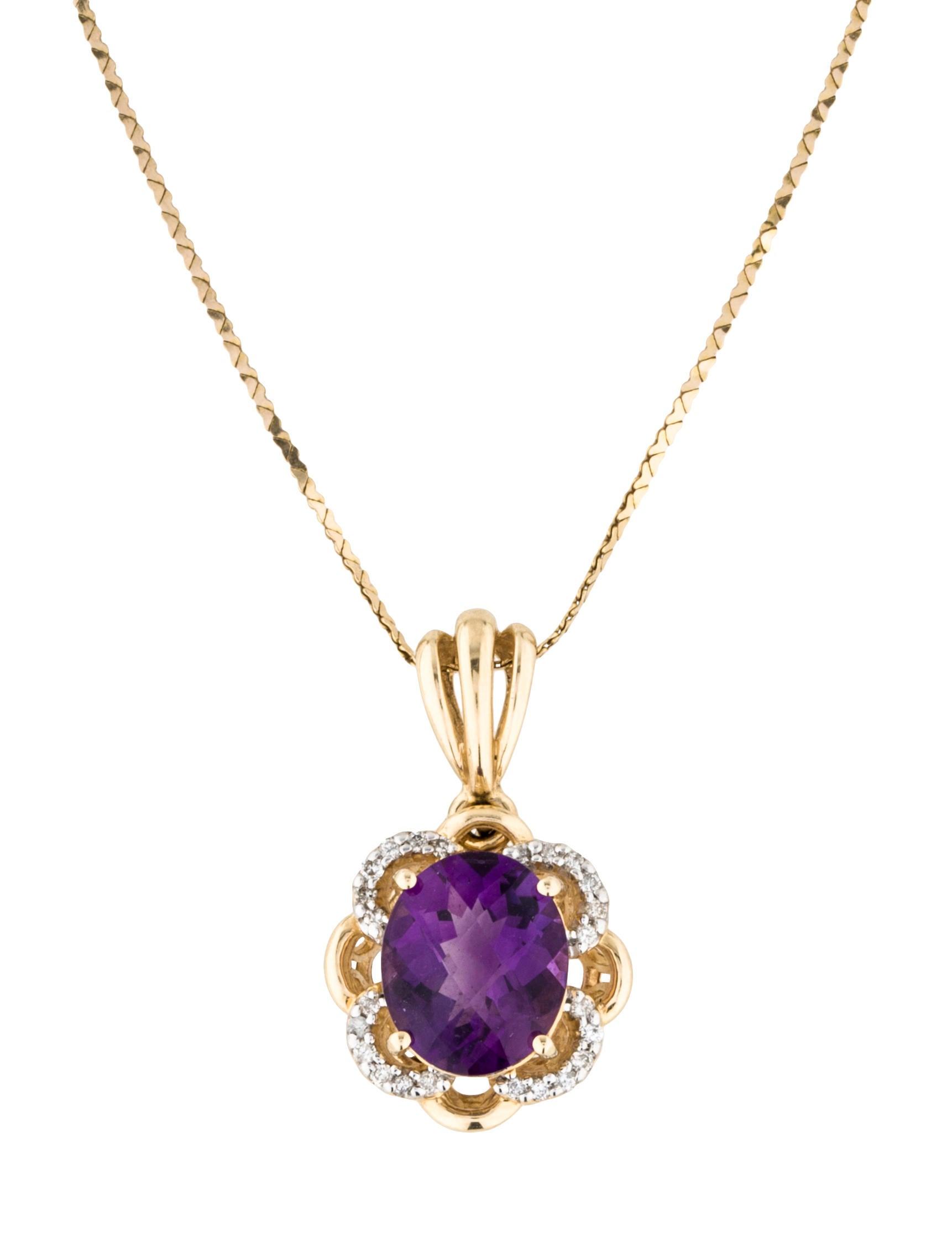 Necklace 14K Amethyst & Diamond Pendant Necklace ...