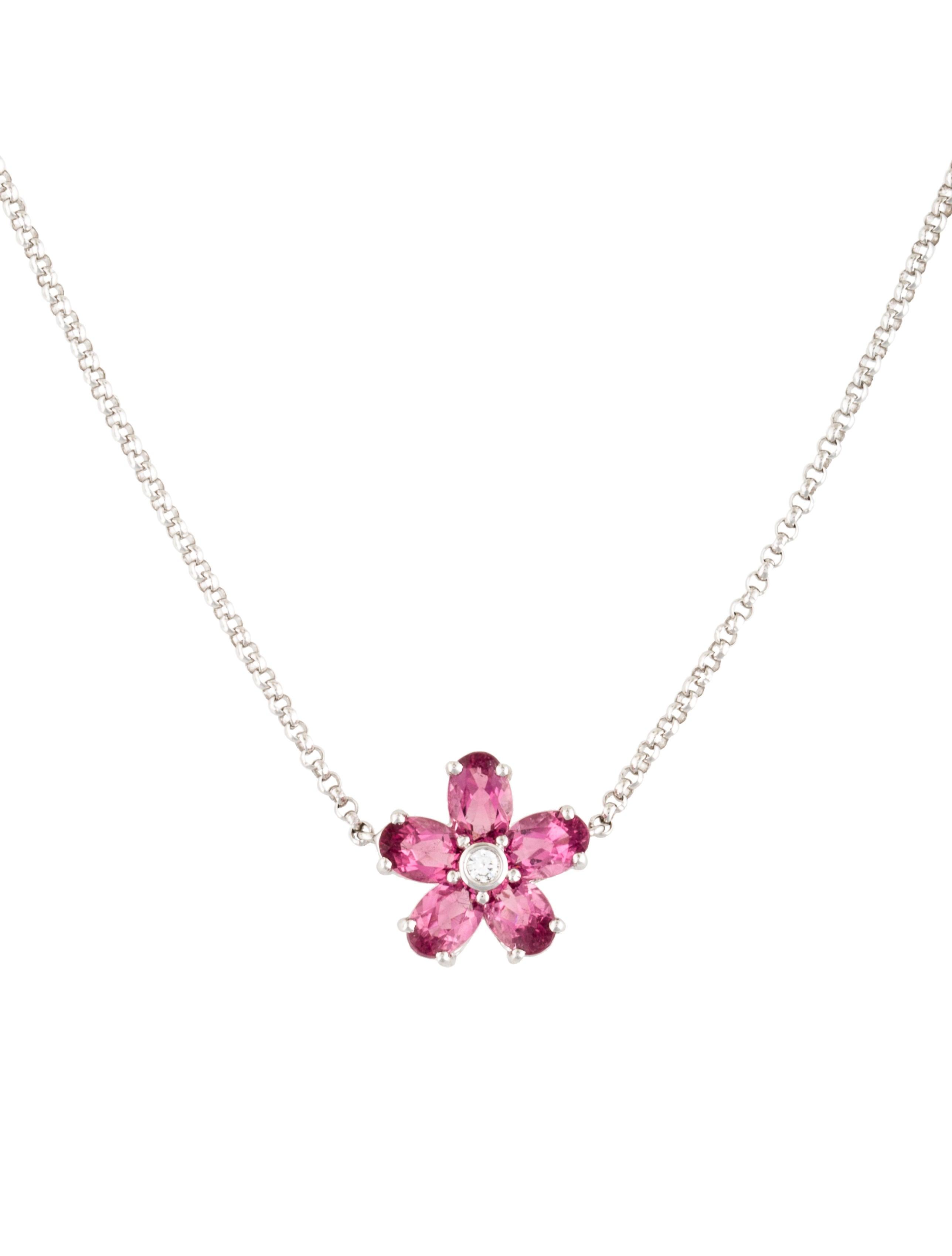 18k pink tourmaline diamond flower pendant necklace. Black Bedroom Furniture Sets. Home Design Ideas