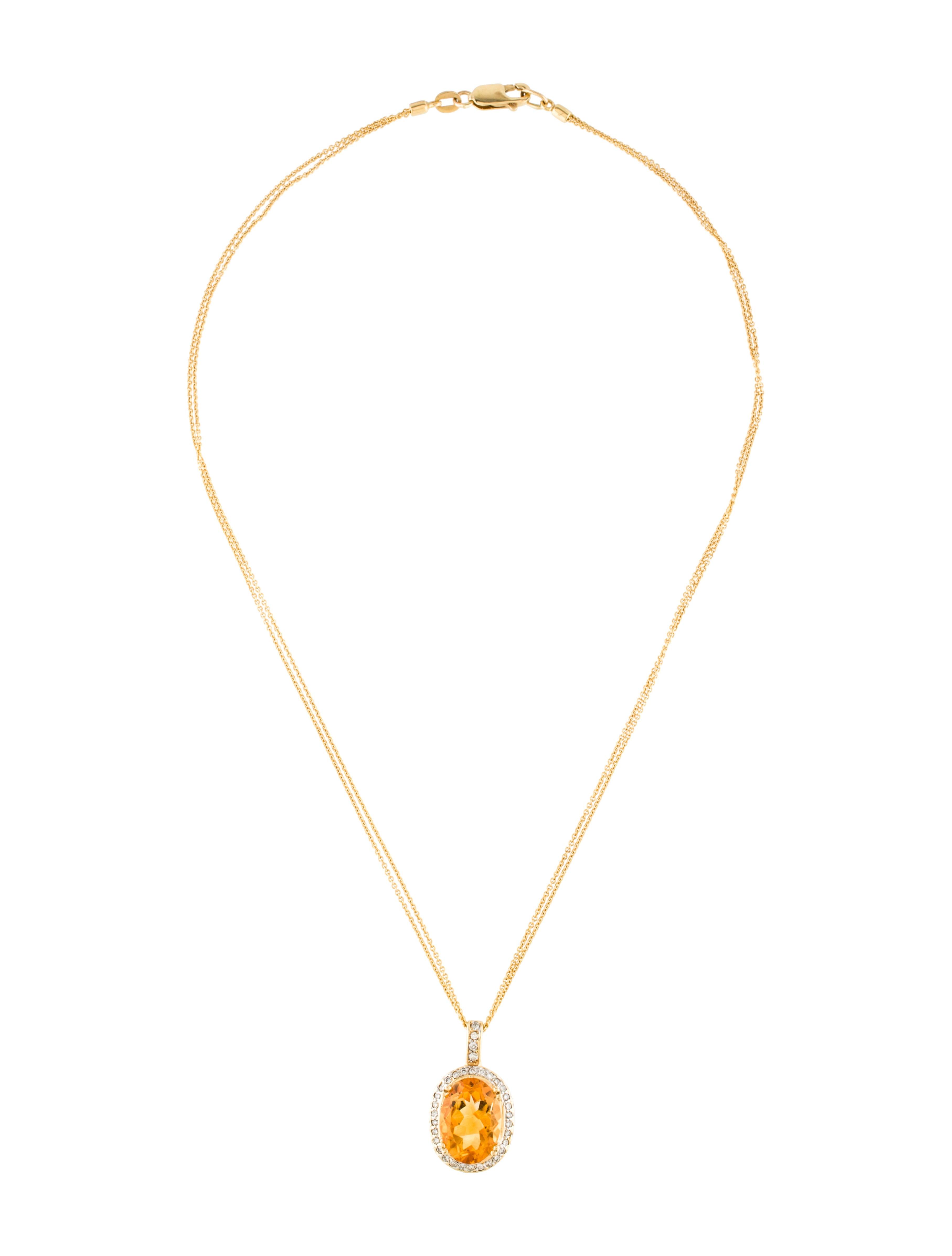 14k citrine amp diamond pendant necklace necklaces