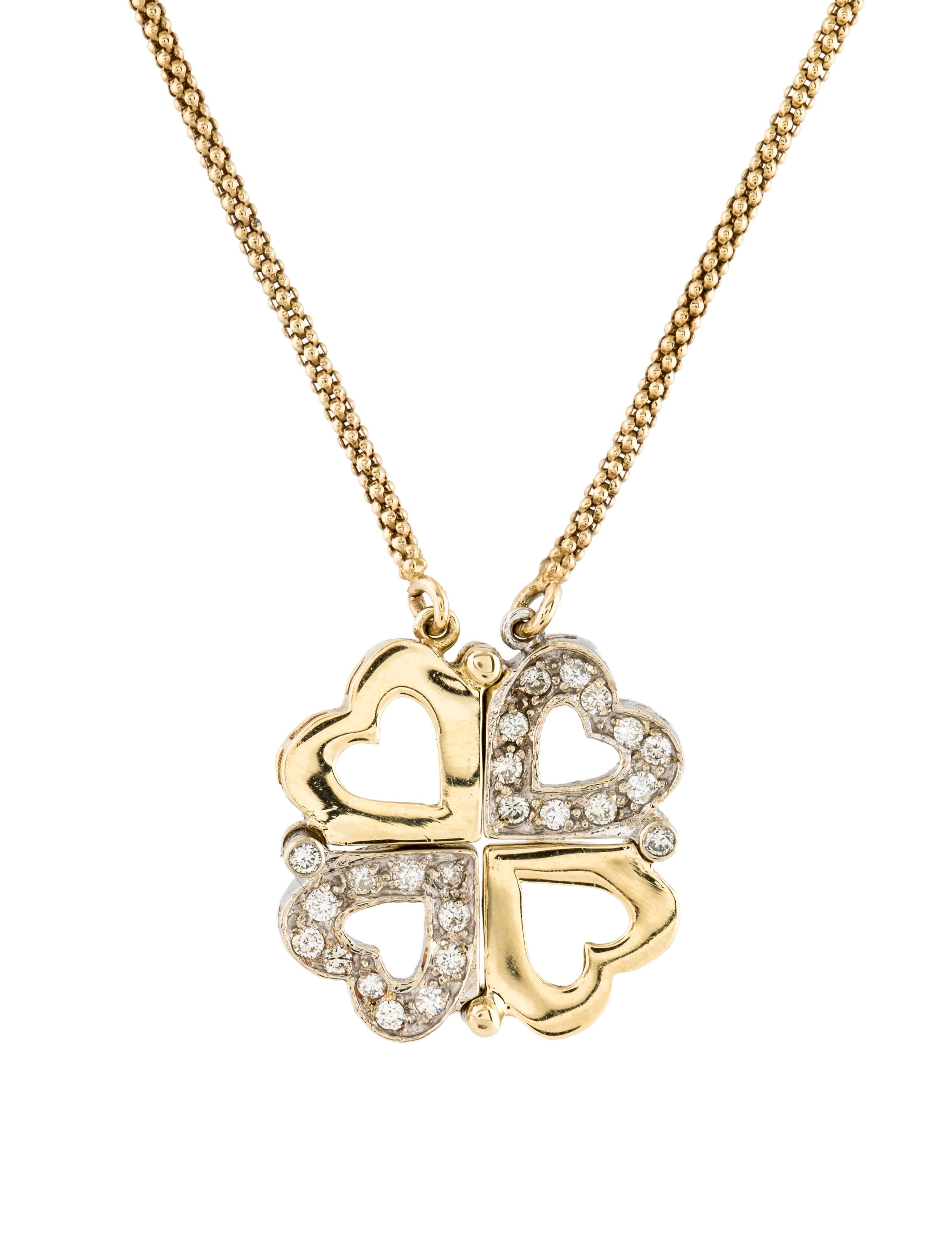 Necklace 14k Diamond Clover Amp Heart Pendant Necklace