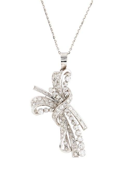 Diamond Ribbon Pendant Necklace by Necklace