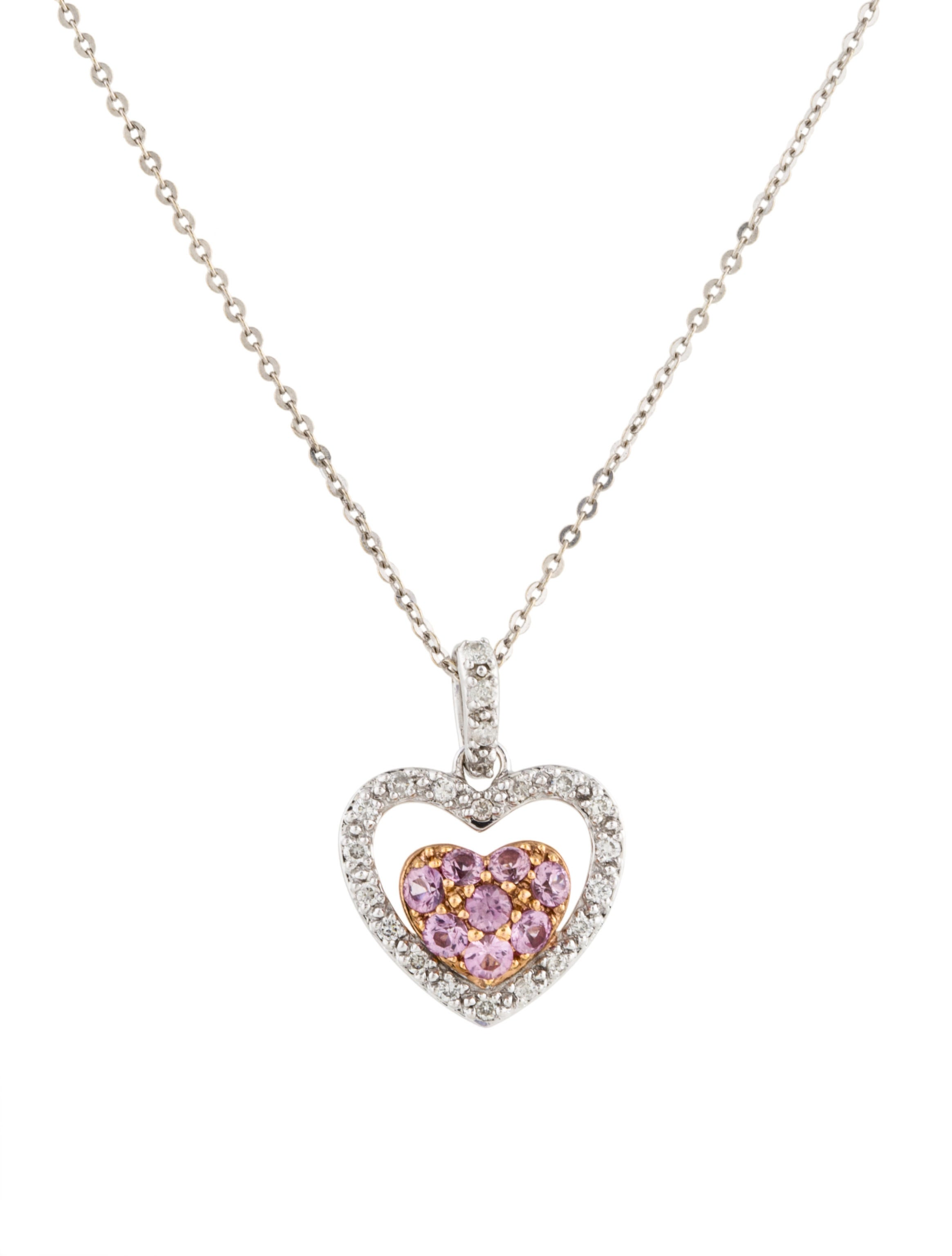 Necklace 18K Pink Sapphire & Diamond Pendant Necklace ...