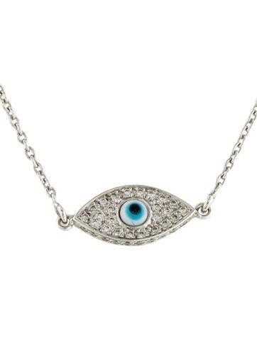 18k diamond evil eye pendant necklace necklaces. Black Bedroom Furniture Sets. Home Design Ideas