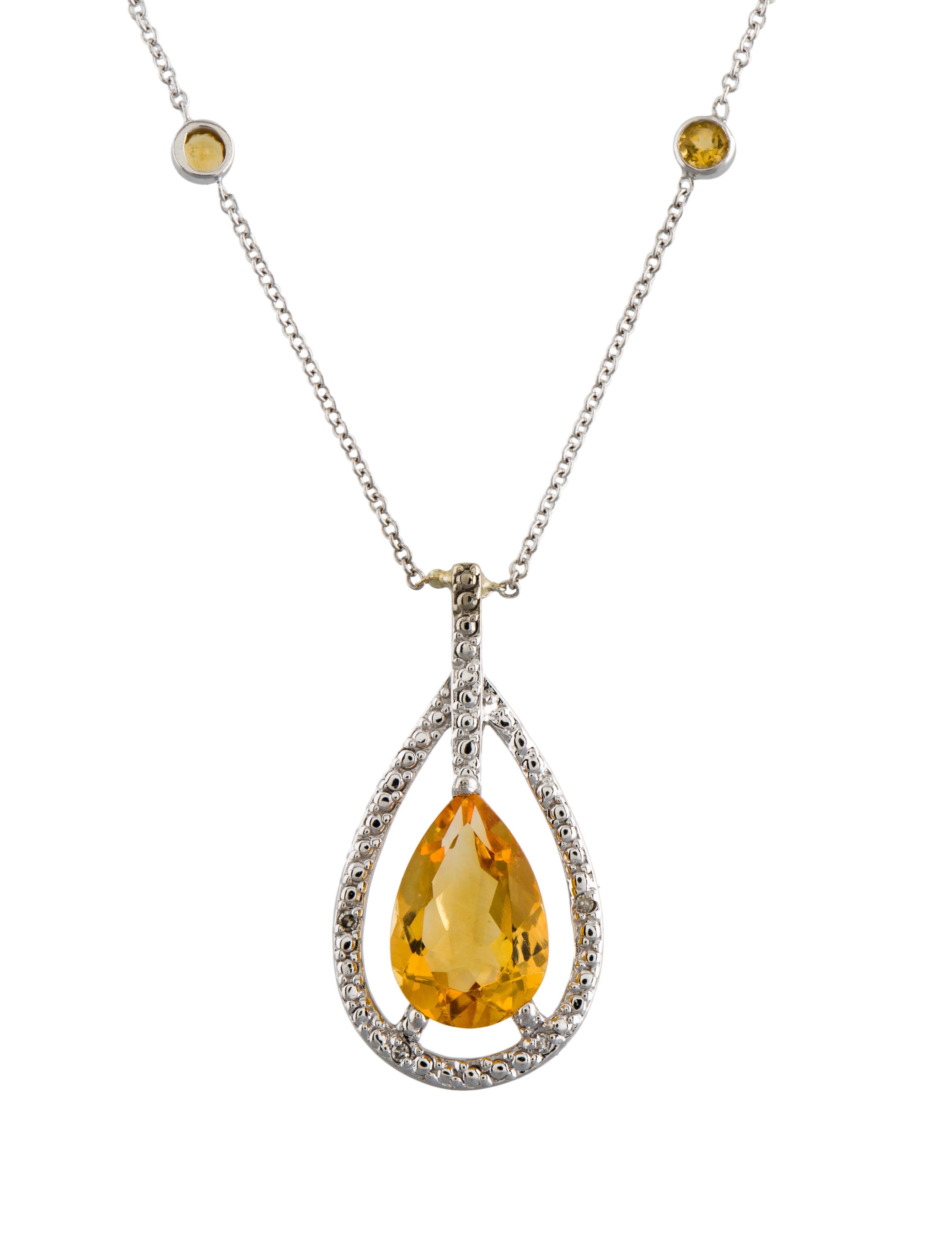 14k citrine amp diamond pendant neckalce necklaces
