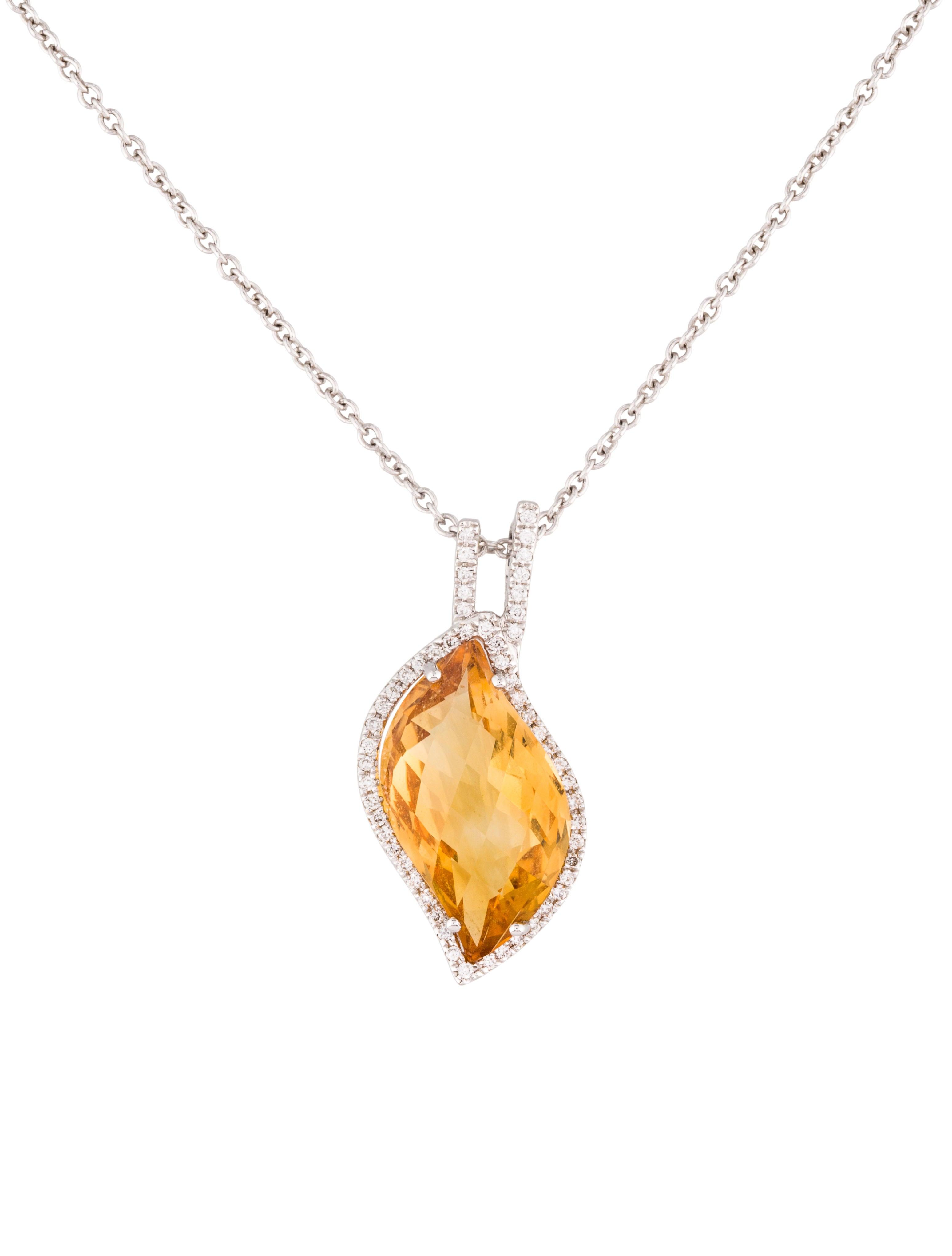 diamond amp citrine pendant necklace necklaces